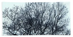 Birds On The Tree Monochrome Beach Sheet