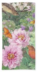 Beach Sheet featuring the painting Birds Peony Garden Illustration by Judith Cheng