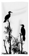 Birds Perched On Branches Beach Sheet
