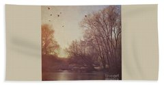 Beach Towel featuring the photograph Birds Take Flight Over Lake On A Winters Morning by Lyn Randle