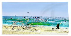 Beach Towel featuring the photograph Birds Taking Off by Ellen Barron O'Reilly