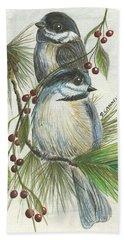 Birds Two And Fir Tree Beach Towel