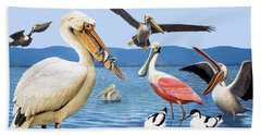 Birds With Strange Beaks Beach Towel