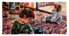 Beach Sheet featuring the painting Birthday Party Or A Childs View by Kendall Kessler