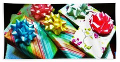 Beach Towel featuring the photograph Birthday Presents by Denise Fulmer
