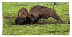 Bison Fighting Beach Towel by Cindy Murphy - NightVisions