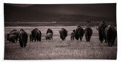 Beach Towel featuring the photograph Bison Herd Into The Sunset - Bw by Chris Bordeleau
