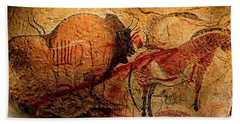 Bison Horse And Other Animals Closer - Narrow Version Beach Towel