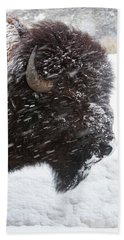 Bison In Snow Beach Towel