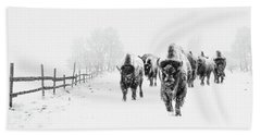 Bison On The Run Beach Towel