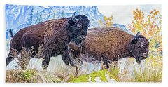Bison Pair Beach Towel