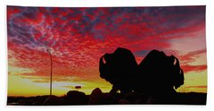 Bison Sunset Beach Towel by Larry Trupp