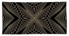 Black And Gold Art Deco Filigree 003 Beach Towel