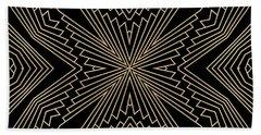Black And Gold Art Deco Filigree 003 Beach Sheet