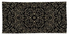 Black And Gold Filigree 002 Beach Towel