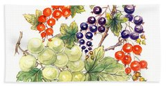 Black And Red Currants With Green Grapes Beach Sheet by Nell Hill