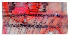 Beach Towel featuring the painting Black And Red Encaustic 3 by Nancy Merkle