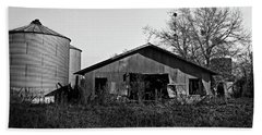 Black And White Abandoned Barn Beach Sheet