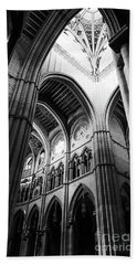 Black And White Almudena Cathedral Interior In Madrid Beach Towel