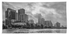 Black And White Austin Skyline On A Foggy Morning 1 Beach Towel