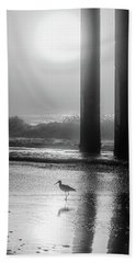 Beach Towel featuring the photograph Black And White Bird Beach by John McGraw