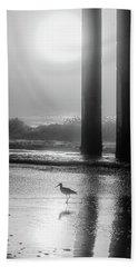 Beach Sheet featuring the photograph Black And White Bird Beach by John McGraw