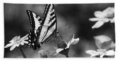 Black And White Butterfly On Flower Beach Towel