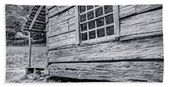 Black And White Cabin In The Forest Beach Towel
