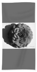 Camellia In Black And White Beach Towel