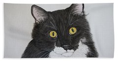 Black And White Cat Beach Towel by Megan Cohen