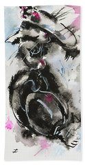 Beach Towel featuring the painting Black And White Cat Sleeping by Zaira Dzhaubaeva