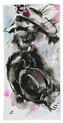 Beach Sheet featuring the painting Black And White Cat Sleeping by Zaira Dzhaubaeva