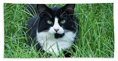 Black And White Cat With Green Eyes Beach Towel