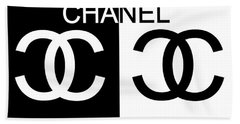 Black And White Chanel 2 Beach Towel