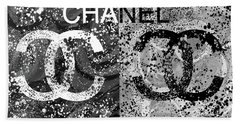 Black And White Chanel Art Beach Sheet
