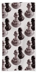 Black And White Chess Pawns Pattern Beach Towel