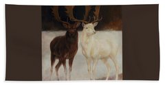 Black And White Fallow Deers Beach Sheet