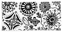 Black And White Floral Doodle Beach Towel