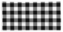 Black And White Gingham Small- Art By Linda Woods Beach Towel