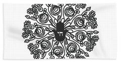 Beach Towel featuring the mixed media Black And White Hamsa Mandala- Art By Linda Woods by Linda Woods