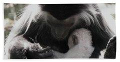 Black And White Image Of Colobus Monkeys Beach Towel