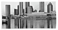 Black And White In The Heart Of Tampa Bay Beach Towel by Frozen in Time Fine Art Photography
