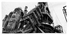 Black And White Industrial - Bethlehem Steel Beach Sheet by Bill Cannon
