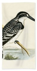 Black And White Kingfisher Beach Towel by English School