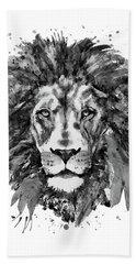 Black And White Lion Head  Beach Towel