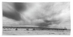Beach Sheet featuring the photograph Black And White Mackinac Bridge Winter by John McGraw