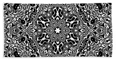 Beach Sheet featuring the digital art Black And White Mandala 34 by Robert Thalmeier