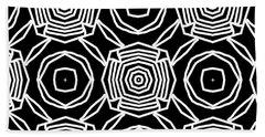 Black And White Modern Roses- Pattern Art By Linda Woods Beach Towel