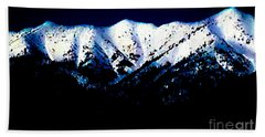 Beach Sheet featuring the mixed media Black And White Mountains by Jennifer Lake