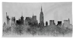 Beach Towel featuring the digital art Black And White New York Skylines Splashes And Reflections by Georgeta Blanaru